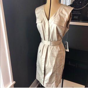 Kenneth Cole khaki sleeveless mini with belt
